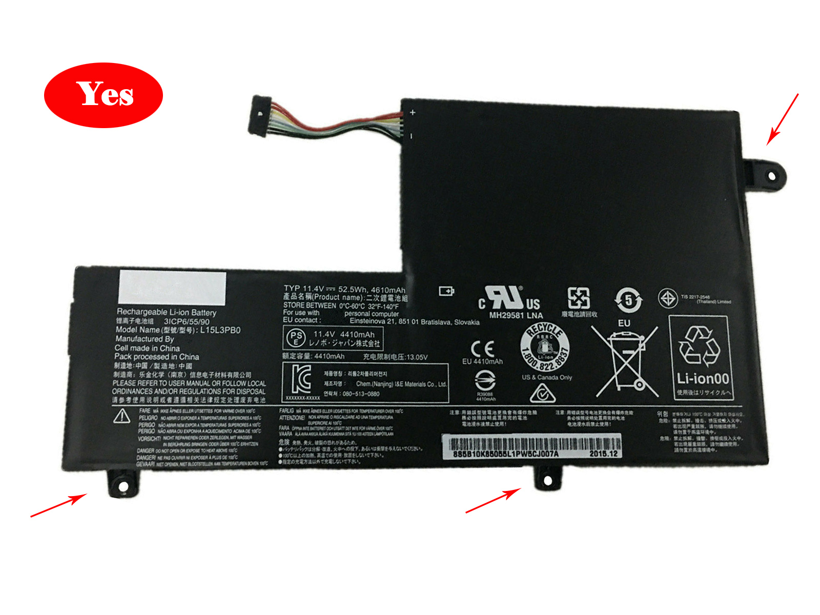Lenovo L15L3PB0 laptop batterie